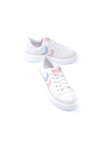 Limoya Pudra-Mavi Yüksek Tabanlı Sneakers Pudra